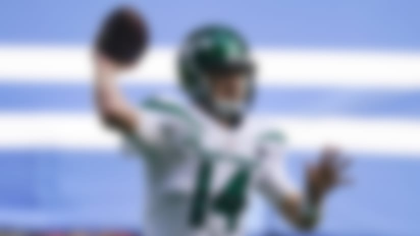 New York Jets quarterback Sam Darnold (14) throws against the Indianapolis Colts in the first half of an NFL football game in Indianapolis, Sunday, Sept. 27, 2020. (AP Photo/Darron Cummings)