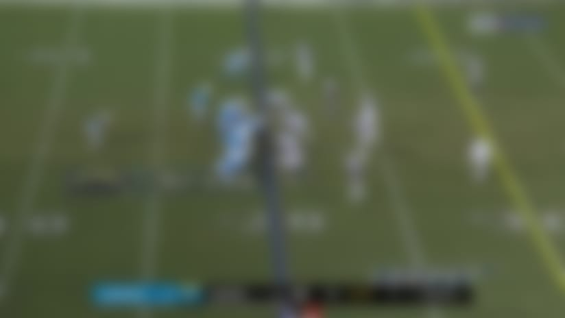 Clelin Ferrell bears down on Philip Rivers for his second sack of the game
