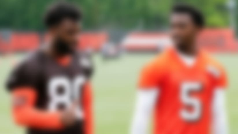 Cleveland Browns wide receiver Jarvis Landry (80) talks with Cleveland Browns quarterback Tyrod Taylor (5) during the team's organized team activity at its NFL football training facility Tuesday, June 5, 2018, in Berea, Ohio. (AP Photo/Ron Schwane)
