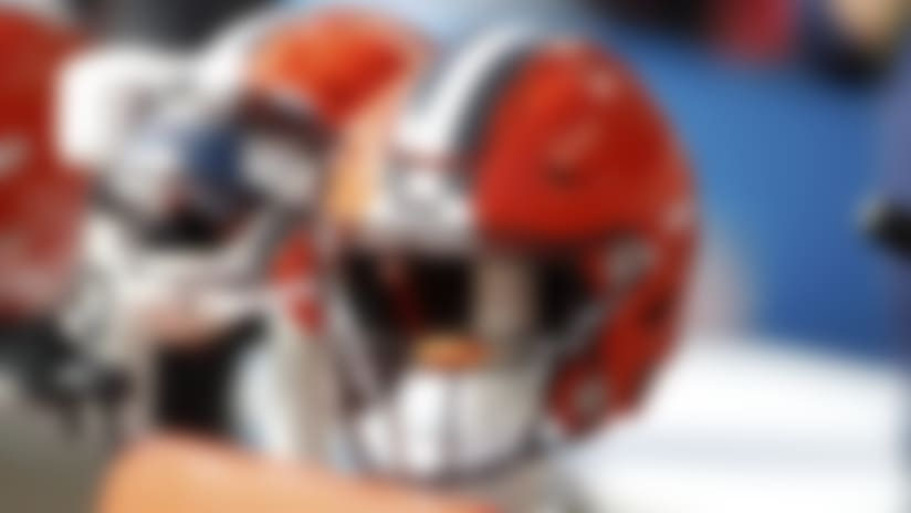 A detail view of a Cleveland Browns helmets are seen on the sideline during an NFL football game between the Seattle Seahawks against the Cleveland Browns, Sunday, Oct. 13, 2019 in Cleveland. The Seahawks defeated the Browns 32-28. (Scott Boehm via AP)