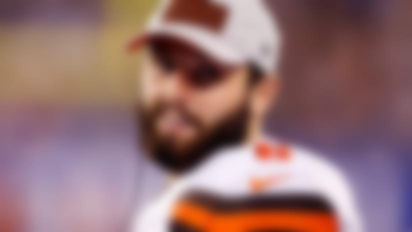 Cleveland Browns quarterback Baker Mayfield reacts during the second half of a preseason NFL football game against the New York Giants Thursday, Aug. 9, 2018, in East Rutherford, N.J. (AP Photo/Adam Hunger)