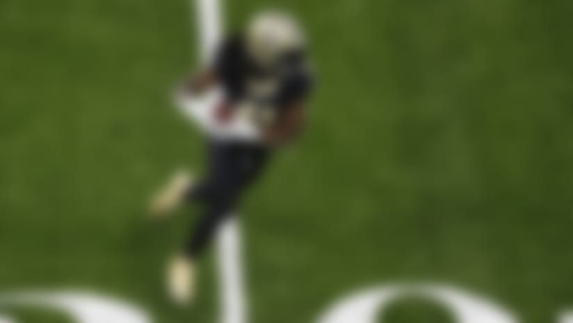 New Orleans Saints running back Alvin Kamara (41) during an NFL football game against the Carolina Panthers, Sunday, Oct. 25, 2020, in New Orleans. (AP Photo/Tyler Kaufman)