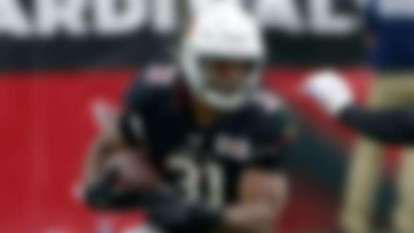 Arizona Cardinals running back David Johnson (31) runs as Atlanta Falcons defensive end Vic Beasley (44) pursues during the first half of an NFL football game, Sunday, Oct. 13, 2019, in Glendale, Ariz. (AP Photo/Rick Scuteri)