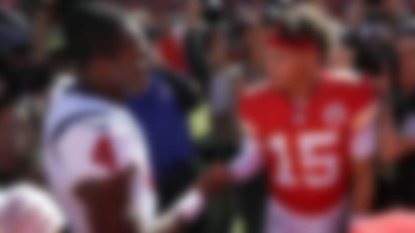 Kansas City Chiefs quarterback Patrick Mahomes (15) and Houston Texans quarterback Deshaun Watson (4) shake hands following an NFL football game in Kansas City, Mo., Sunday, Oct. 13, 2019. The Houston Texans won 31-24. (AP Photo/Colin E. Braley)