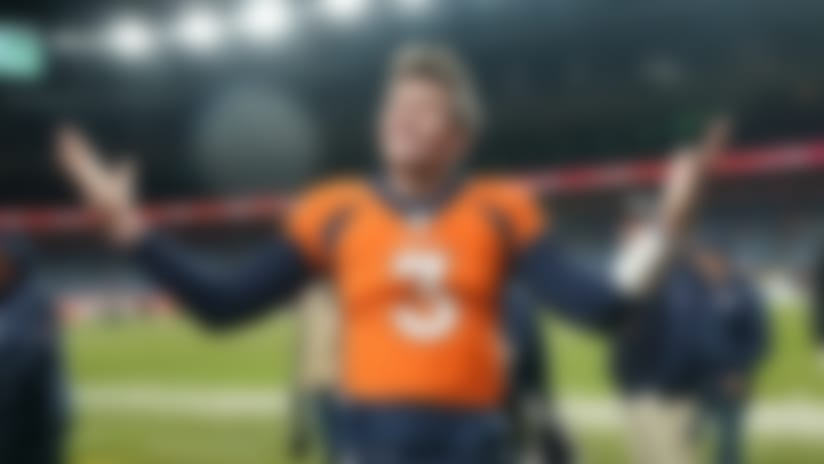 "FILE - In  this Dec. 29, 2019, file photo, Denver Broncos quarterback Drew Lock gestures after an NFL football game against the Oakland Raiders in Denver. While stressing that Lock has ""a long way to go"" after spending the first half of his rookie season on injured reserve with a thumb injury, Denver Broncos president of football operations and general manager John Elway said he feels he's finally found a worthy successor to Peyton Manning. ""Now is the fun part of trying to fill around him,"" Elway said. (AP Photo/Jack Dempsey, File)"