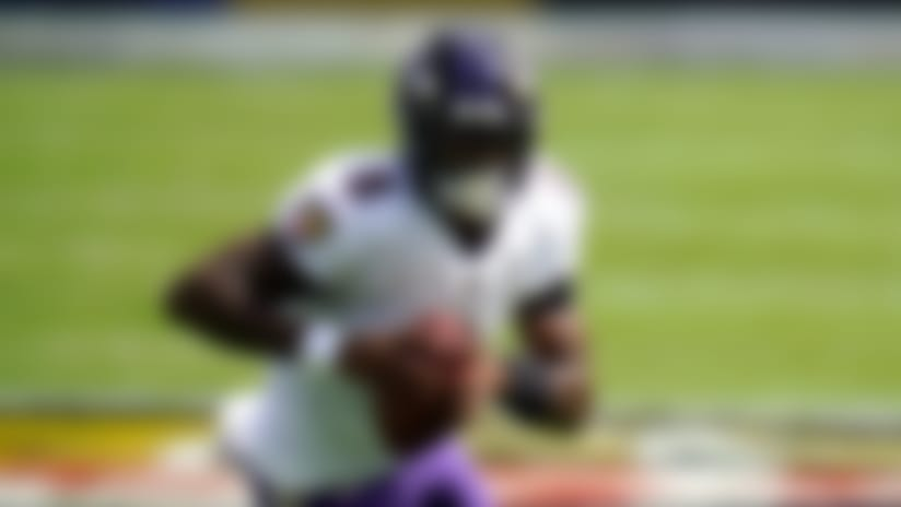 Baltimore Ravens quarterback Lamar Jackson scrambles against the Cleveland Browns during the first half of an NFL football game, Sunday, Sept. 13, 2020, in Baltimore. (AP Photo/Julio Cortez)