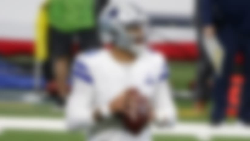 Dallas Cowboys quarterback Dak Prescott (4) prepares to throw against the Atlanta Falcons during the fourth quarter an NFL Football game in Arlington, Texas, Sunday, Sept. 20, 2020. (AP Photo/Michael Ainsworth)