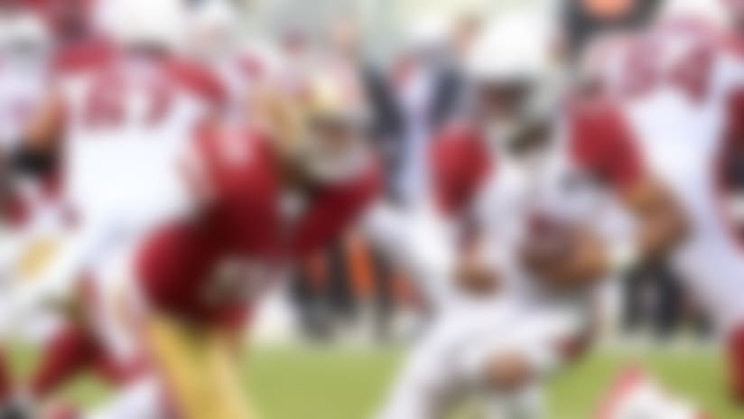 San Francisco 49ers defensive end Arik Armstead (91) sacks Arizona Cardinals quarterback Kyler Murray (1) during an NFL football game in Santa Clara, Calif., Sunday, Nov. 17, 2019. The 49ers beat the Cardinals 36-26. (Cooper Neill via AP)
