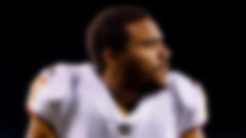 Washington Redskins tight end Jordan Reed (86) stretches during warmups prior to an NFL football game against the Philadelphia Eagles on Monday, Dec. 3, 2018, in Philadelphia. The Eagles defeated the Redskins, 28-13. (Ryan Kang via AP)