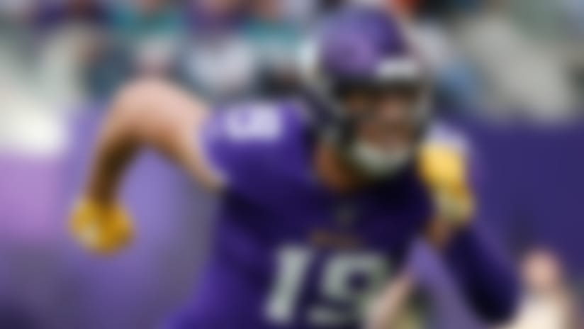 Minnesota Vikings wide receiver Adam Thielen runs up field during the first half of an NFL football game against the Miami Dolphins, Sunday, Dec. 16, 2018, in Minneapolis. (AP Photo/Bruce Kluckhohn)