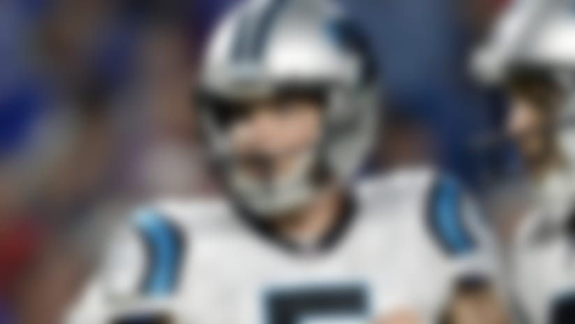 Carolina Panthers punter Michael Palardy (5) and kicker Graham Gano celebrate an extra point during the second half of an NFL football game, Thursday, Aug. 9, 2018, in Orchard Park, N.Y. (AP Photo/Adrian Kraus)