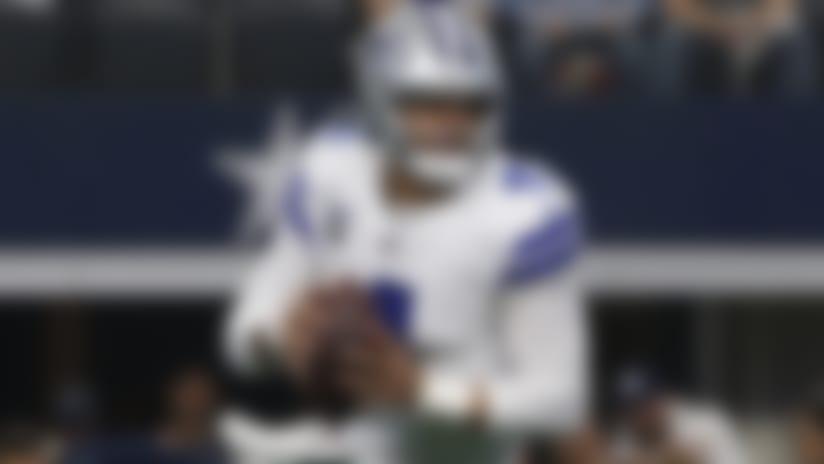 Dallas Cowboys quarterback Dak Prescott (4) looks to throw against the Washington Redskins during the first half of an NFL football game in Arlington, Texas, Sunday, Dec. 15, 2019. (AP Photo/Ron Jenkins)