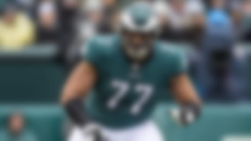 Philadelphia Eagles tackle Andre Dillard (77) blocks during an NFL game against the Seattle Seahawks, Sunday, Nov. 24, 2019, in Philadelphia. The Seahawks defeated the Eagles 17-9. (Al Tielemans via AP)