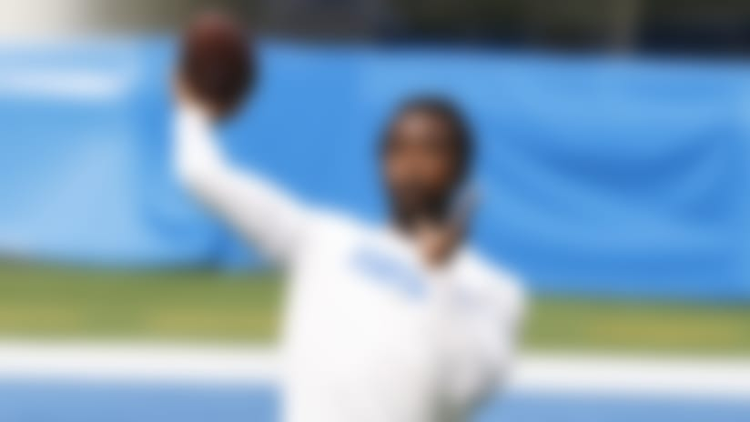 Los Angeles Chargers quarterback Tyrod Taylor (5) warms up prior to the NFL football game against the Kansas City Chiefs on Sunday, September 20, 2020 in Inglewood, California. (Ryan Kang/NFL)
