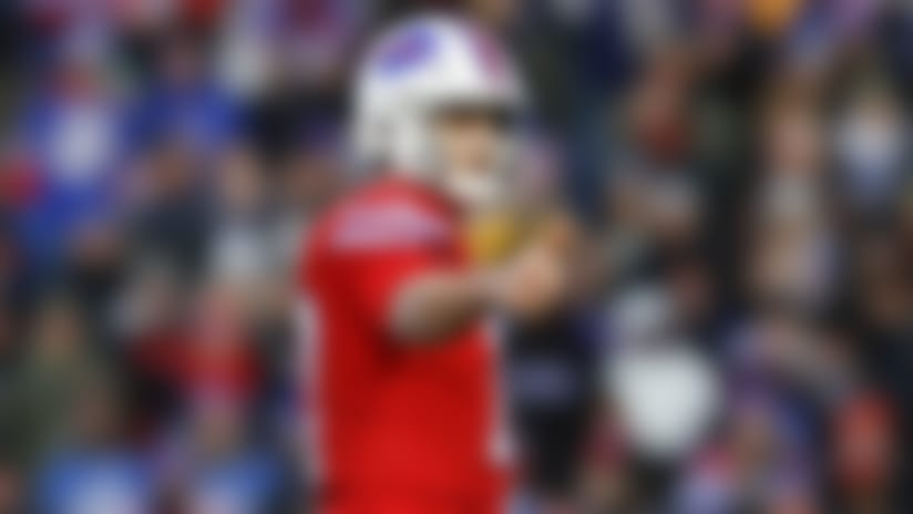 Buffalo Bills quarterback Josh Allen (17) prepares for the snap during an NFL football game against the Baltimore Ravens, Sunday, Dec. 8, 2019, in Orchard Park, N.Y. Baltimore won 24-17. (Aaron M. Sprecher via AP)