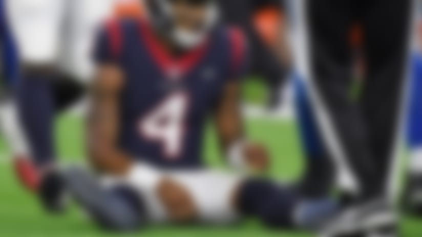 Houston Texans quarterback Deshaun Watson (4) sits on the turf after he was sacked for a loss during the second half of an NFL wild card playoff football game against the Indianapolis Colts, Saturday, Jan. 5, 2019, in Houston. (AP Photo/Eric Christian Smith)