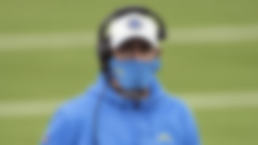 Los Angeles Chargers offensive coordinator Shane Steichen paces the sideline during an NFL football game against the Denver Broncos, Sunday, Dec. 27, 2020 in Inglewood, Calif. The Chargers defeated the Broncos 19-16. (Paul Spinelli via AP)