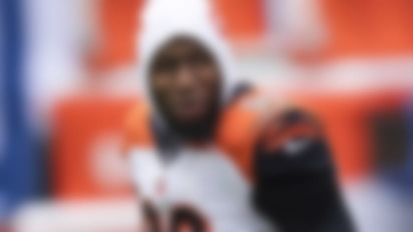 Cincinnati Bengals defensive end Carlos Dunlap (96) walks to the sidelines during an NFL football game between the Indianapolis Colts and Cincinnati Bengals, Sunday, Oct. 18, 2020, in Indianapolis. (AP Photo/Zach Bolinger)