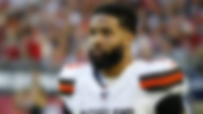 Cleveland Browns wide receiver Odell Beckham during the first half of an NFL football game against the Arizona Cardinals, Sunday, Dec. 15, 2019, in Glendale, Ariz. (AP Photo/Rick Scuteri)
