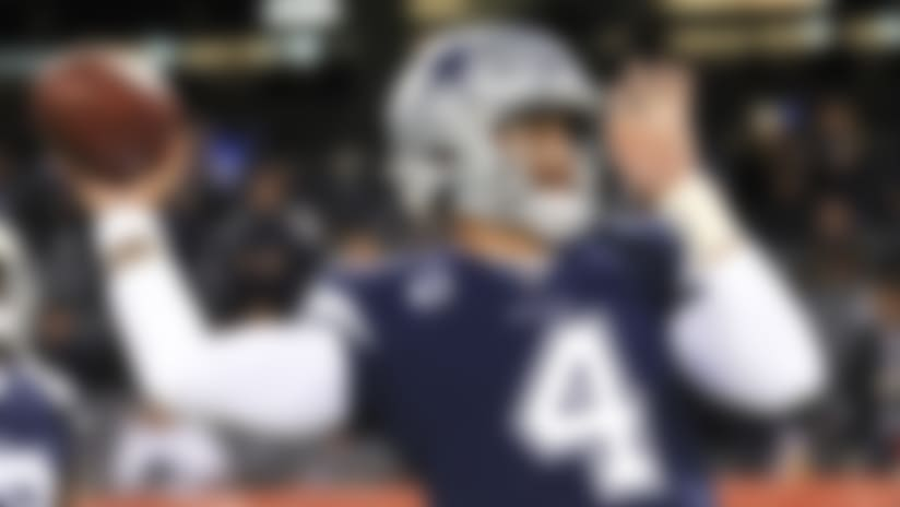 Dallas Cowboys quarterback Dak Prescott (4) warms up before an NFL football game against the Chicago Bears, Thursday, Dec. 5, 2019 in Chicago. (Aaron Doster/NFL)