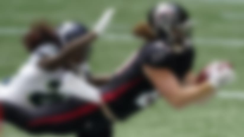 Atlanta Falcons tight end Hayden Hurst (81) makes the catch ahead of Seattle Seahawks cornerback Shaquill Griffin (26) during the first half of an NFL football game, Sunday, Sept. 13, 2020, in Atlanta. (AP Photo/John Bazemore)