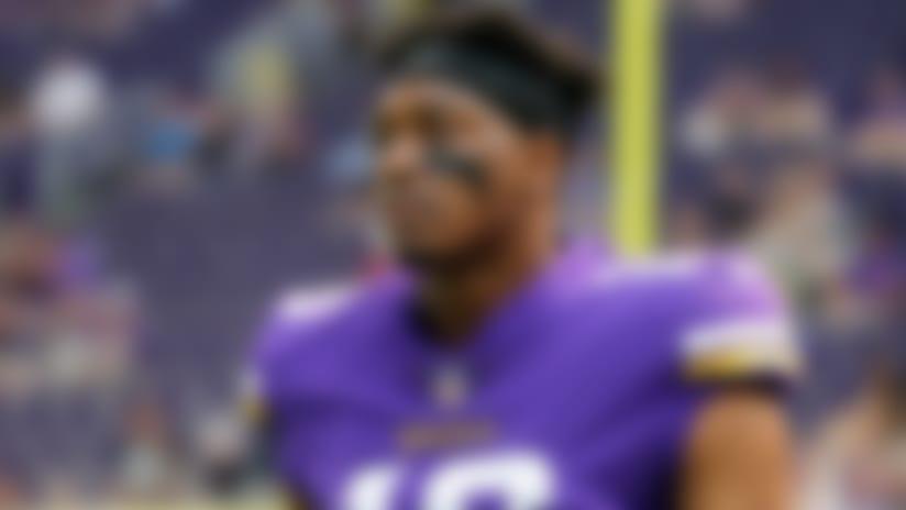 Minnesota Vikings receiver Cayleb Jones looks on as he warms up against the Jacksonville Jaguars during a NFL preseason football game, Saturday, Aug. 18, 2018, in Minneapolis. The Jaguars won, 14-10. (G. Newman Lowrance via AP)