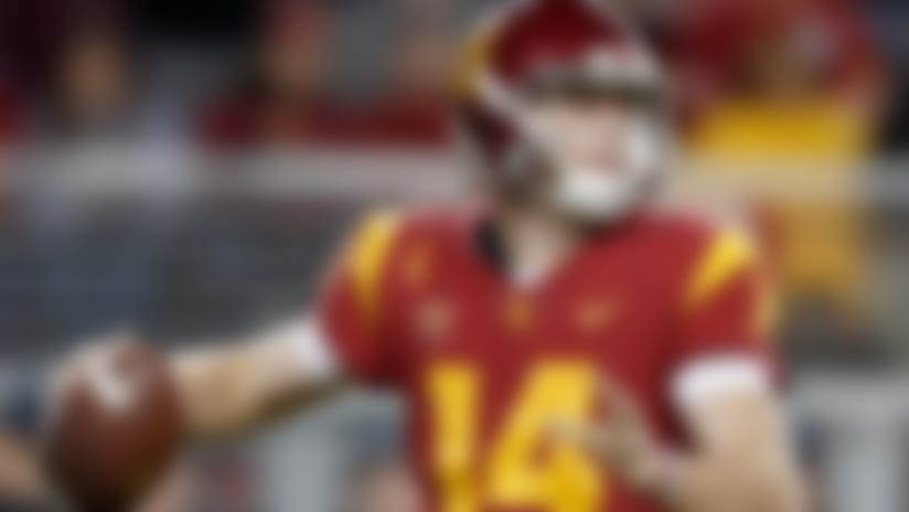 USC Trojans quarterback Sam Darnold (14) looks to throw during the Pac 12 Conference Championship NCAA college football game against Stanford, Friday, Dec. 1, 2017, in Santa Clara, Calif. Southern California defeated Stanford, 31-28. (Ryan Kang via AP)