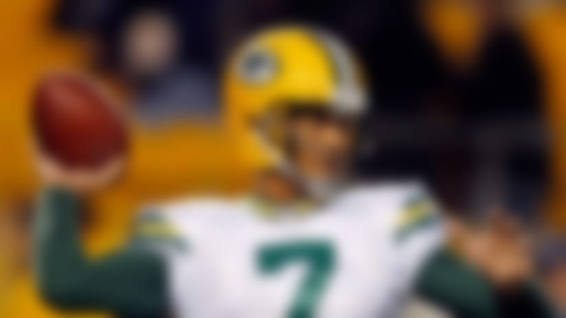Green Bay Packers quarterback Brett Hundley (7) warms up before an NFL football game against the Pittsburgh Steelers in Pittsburgh, Sunday, Nov. 26, 2017. (AP Photo/Keith Srakocic)
