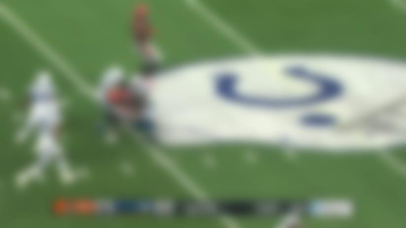 David Blough sails pass between three Colt defenders for 24 yards