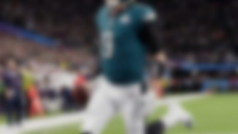 Philadelphia Eagles quarterback Nick Foles (9) celebrates a touchdown, during the first half of the NFL Super Bowl 52 football game against the New England Patriots Sunday, Feb. 4, 2018, in Minneapolis. (AP Photo/Tony Gutierrez)