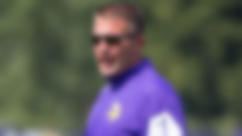 Jul 28, 2018; Eagan, MN, USA; Minnesota Vikings offensive coordinator John DeFilippo at Vikings training camp at TCO Performance Center. Mandatory Credit: Brad Rempel-USA TODAY Sports