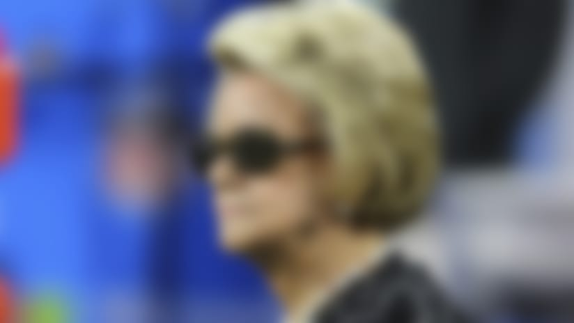 Detroit Lions owner Martha Firestone Ford is seen during the halftime of an NFL football game against the Seattle Seahawks, Sunday, Oct. 28, 2018, in Detroit. (AP Photo/Rey Del Rio)