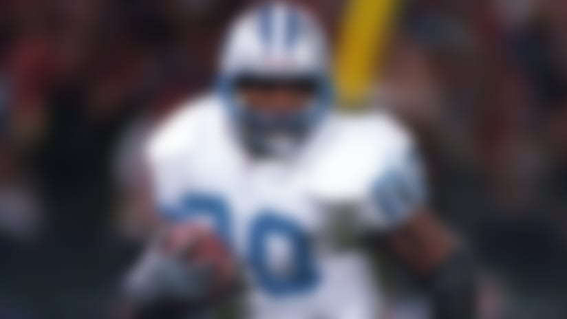Detroit Lions, 1989-1998<br> &raquo; One-time NFL MVP<br> &raquo; Voted to five Pro Bowls 10 times, First Team All-Pro six times<br> &raquo; Led league in rushing four times, rushing touchdowns once<br> &raquo; 15,269 career rushing yards, 99 career rushing touchdowns, 10 career receiving touchdowns<br> &raquo; Enshrined in the Pro Football Hall of Fame