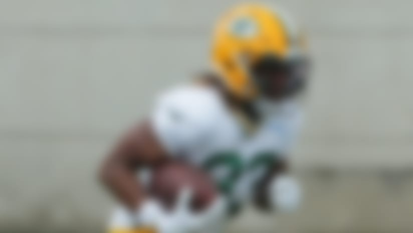 Green Bay Packers running back Aaron Jones (33) is shown Saturday, Aug. 15, 2020, during the team's first practice at training camp in Green Bay, Wis.Packers16 77 Hoffman