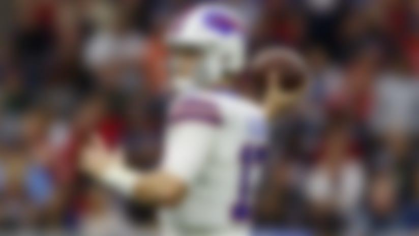 Buffalo Bills quarterback Josh Allen (17) looks to pass during an NFL wild-card playoff football game against the Houston Texans, Saturday, Jan. 4, 2020, in Houston. The Texans defeated the Bills in overtime, 22-19. (Ryan Kang via AP)