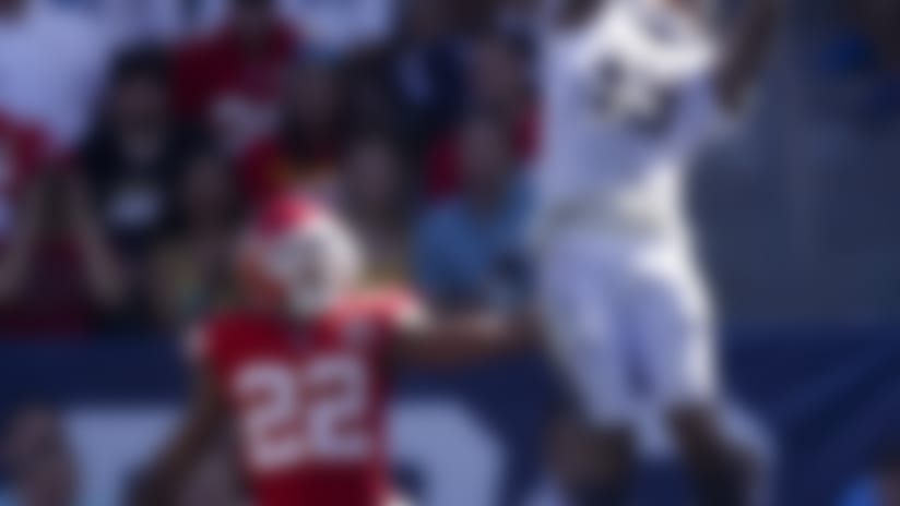 Los Angeles Chargers wide receiver Keenan Allen, right, catches a touchdown pass ahead of Kansas City Chiefs defensive back Orlando Scandrick during the second half of an NFL football game Sunday, Sept. 9, 2018, in Carson, Calif. (AP Photo/Jae C. Hong)