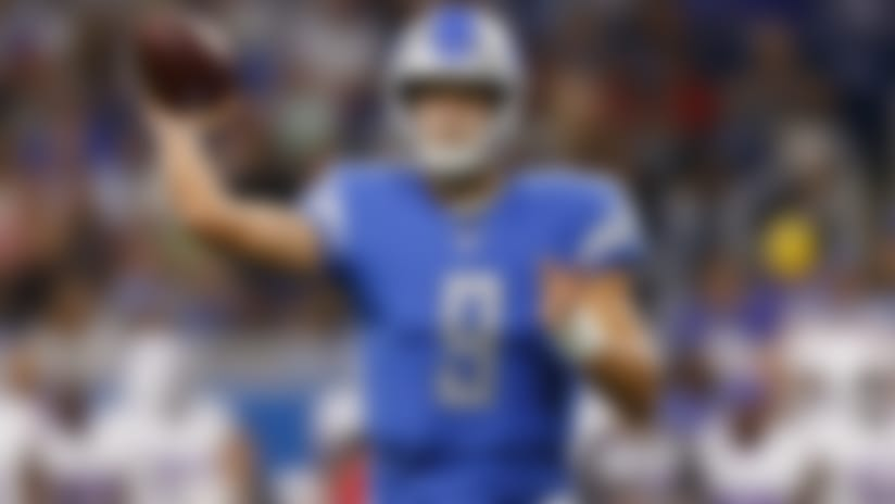 Detroit Lions quarterback Matthew Stafford (9) looks to pass during an NFL preseason football game against the Buffalo Bills, Friday, Aug. 23, 2019, in Detroit. The Bills defeated the Lions, 24-20. (Ryan Kang via AP)