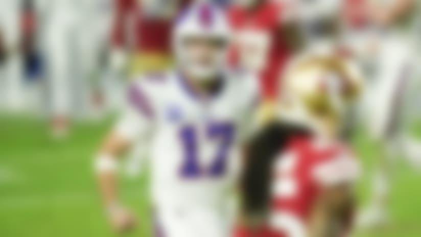 Buffalo Bills quarterback Josh Allen (17) celebrates during an NFL game against the San Francisco 49ers, Monday, Dec. 07, 2020, in Glendale, Ariz. The Bills beat the 49ers 34-24. (Cooper Neill via AP)