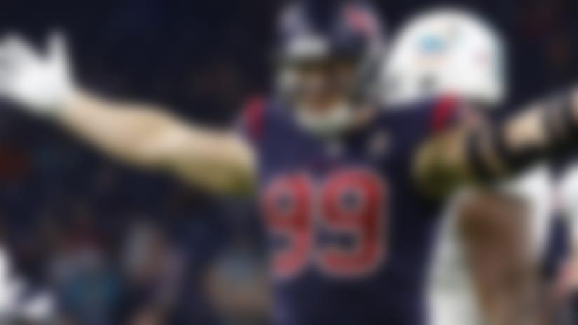 Houston Texans defensive end J.J. Watt (99) celebrates during a regular season Week 8 NFL football game between the Miami Dolphins and the Houston Texans on Thursday, Oct. 25, 2018, in Houston. The Texans beat the Dolphins 42-23. (AP Photo/Matt Patterson)