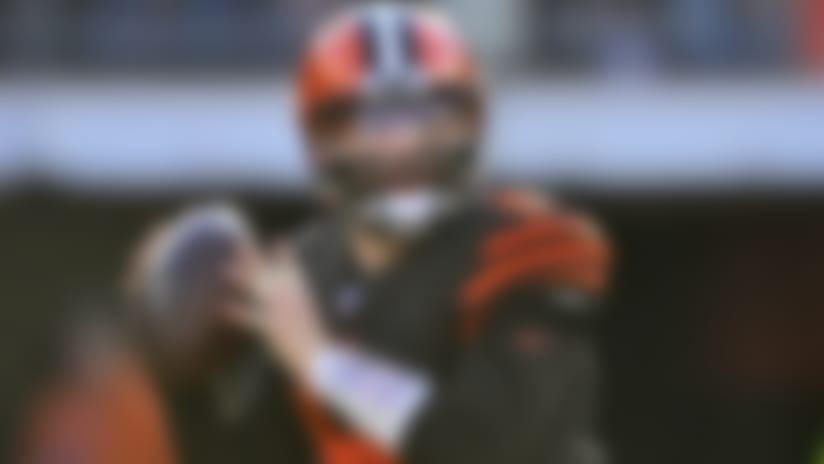 Cleveland Browns quarterback Baker Mayfield looks to throw during the second half of an NFL football game against the Baltimore Ravens, Sunday, Dec. 22, 2019, in Cleveland. (AP Photo/David Richard)