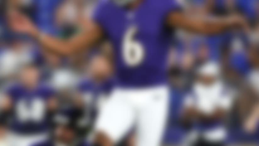Baltimore Ravens kicker Kaare Vedvik (6) kicks a field goal against the Jacksonville Jaguars during the first half of an NFL football preseason game, Thursday, Aug. 8, 2019, in Baltimore. (AP Photo/Gail Burton)