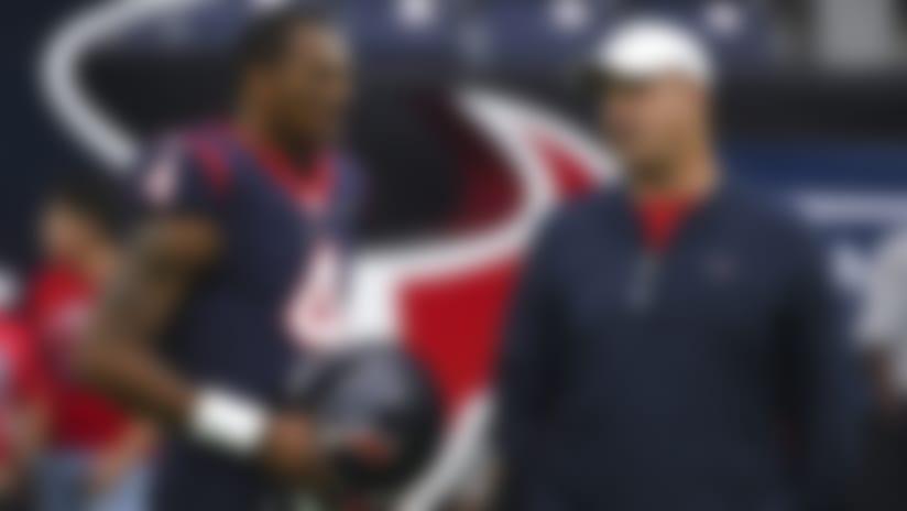 Houston Texans quarterback Deshaun Watson (4) talks with coach Bill O'Brien before an NFL football game against the Tennessee Titans Sunday, Dec. 29, 2019, in Houston. (AP Photo/Eric Christian Smith)