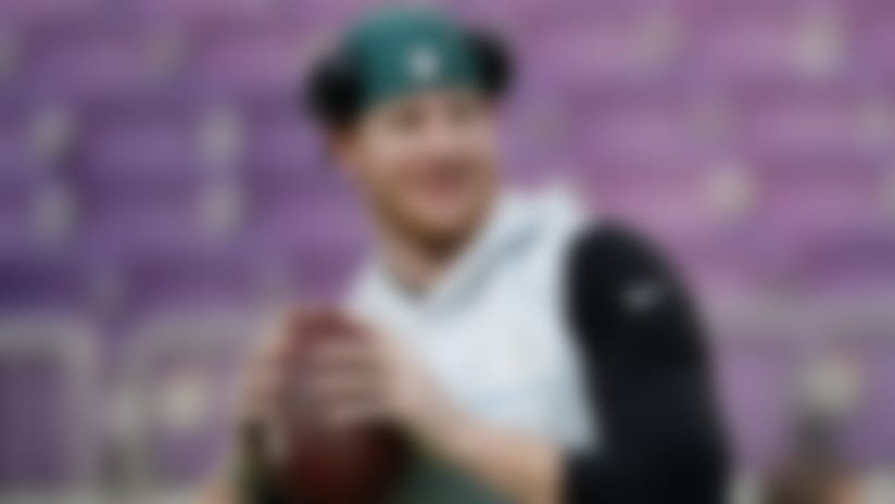 Philadelphia Eagles quarterback Carson Wentz throws before the NFL Super Bowl 52 football game against the New England Patriots Sunday, Feb. 4, 2018, in Minneapolis. (AP Photo/Matt Slocum)