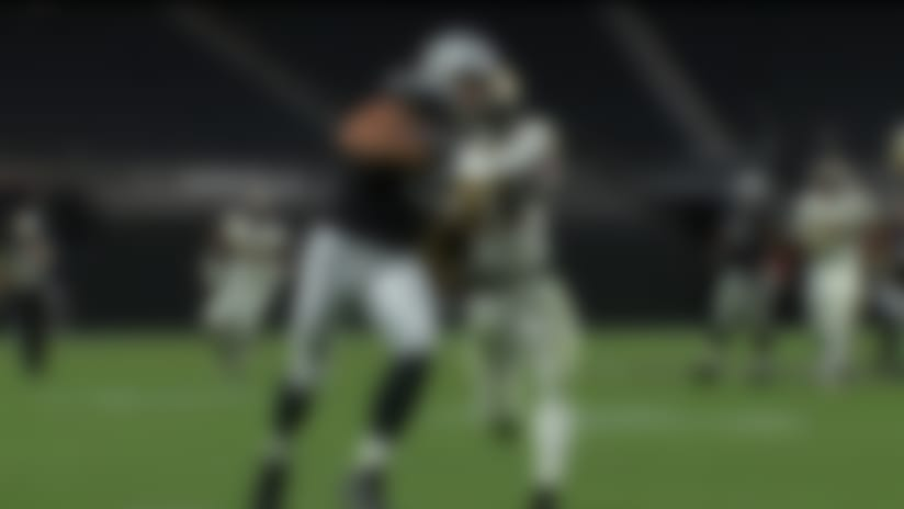 Carr lobs beautiful over-the-shoulder dime to Moreau for 31 yards