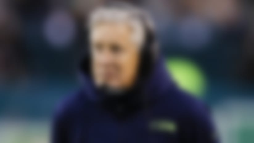 Seattle Seahawks head coach Pete Carroll before an NFL wild-card playoff football game against the Philadelphia Eagles, Sunday, Jan. 5, 2020, in Philadelphia. (AP Photo/Matt Rourke)