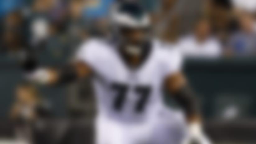 Philadelphia Eagles offensive tackle Andre Dillard (77) blocks during an NFL preseason football game against the Baltimore Ravens on Thursday, Aug. 22, 2019, in Philadelphia. The Ravens defeated the Eagles, 26-15. (Ryan Kang via AP)