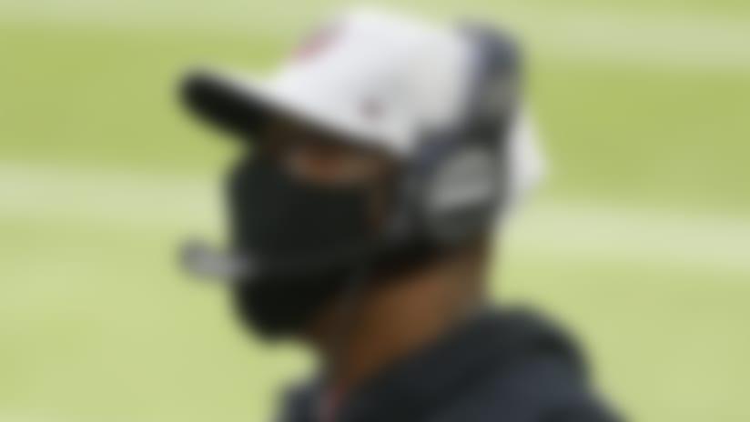 Atlanta Falcons head coach Raheem Morris watches during the first half of an NFL football game against the Minnesota Vikings, Sunday, Oct. 18, 2020, in Minneapolis. (AP Photo/Bruce Kluckhohn)