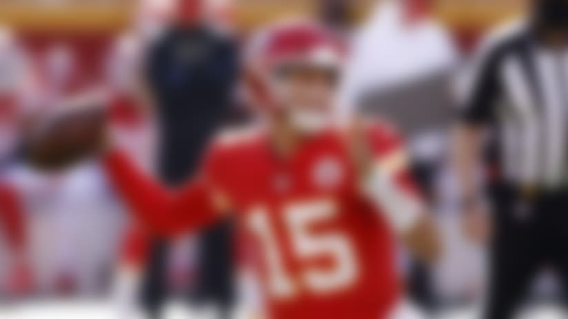 Kansas City Chiefs quarterback Patrick Mahomes (15) looks to pass the ball against the Carolina Panthers during an NFL football game, Sunday, Nov. 8, 2020, in Kansas City, Mo. The Chiefs defeated the Panthers 33-31. (Joe Robbins via AP)