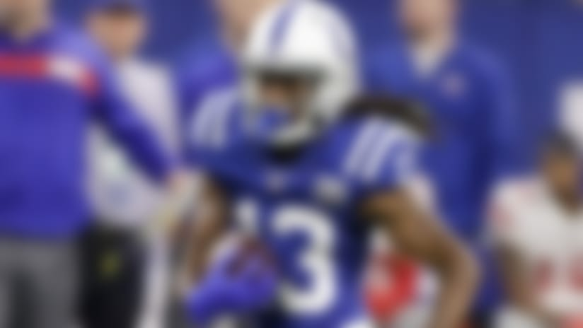 Indianapolis Colts wide receiver T.Y. Hilton (13) makes a catch against the New York Giants during the second half of an NFL football game in Indianapolis, Sunday, Dec. 23, 2018. (AP Photo/Darron Cummings)
