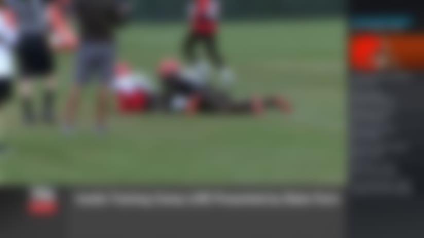 Baker Mayfield throws rainbow deep pass to Odell Beckham Jr. at camp